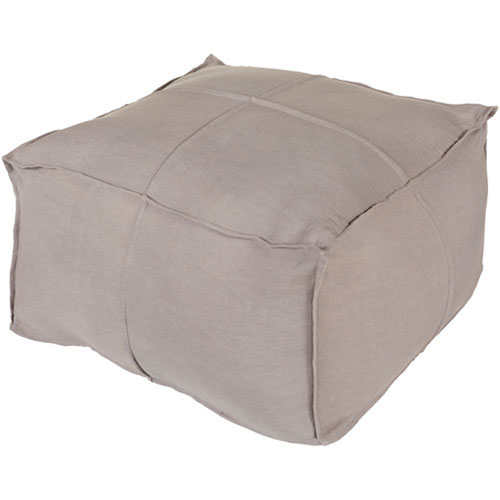 Nicollet Gray Solid Linen Cube Pouf