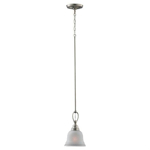 Aster One-Light Brushed Nickel Mini Pendant with Satin EtchedGlass