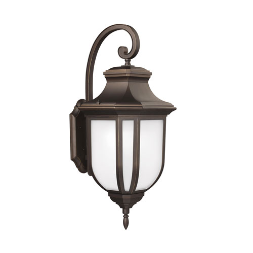 James Antique Bronze Energy Star 14-Inch LED Outdoor Wall Lantern with Satin Etched Glass