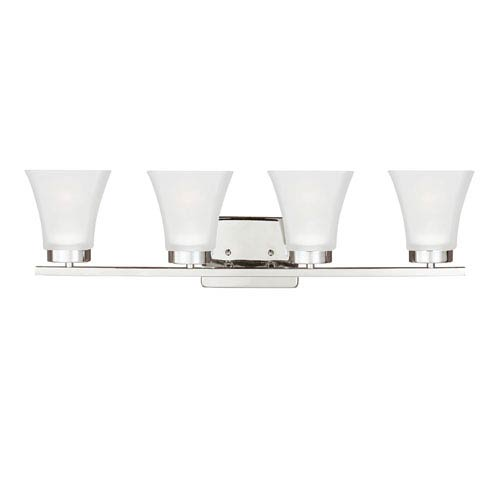 Kate Chrome Four-Light Bath Vanity with Satin Etched Glass