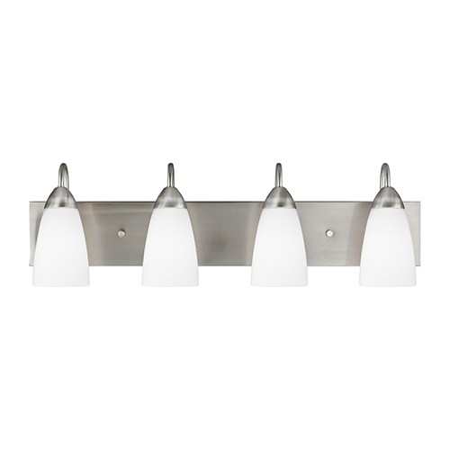 Nora Brushed Nickel 28-Inch Four-Light Bath Vanity