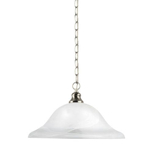Webster Brushed Nickel Energy Star 13-Inch LED Pendant with Alabaster Glass