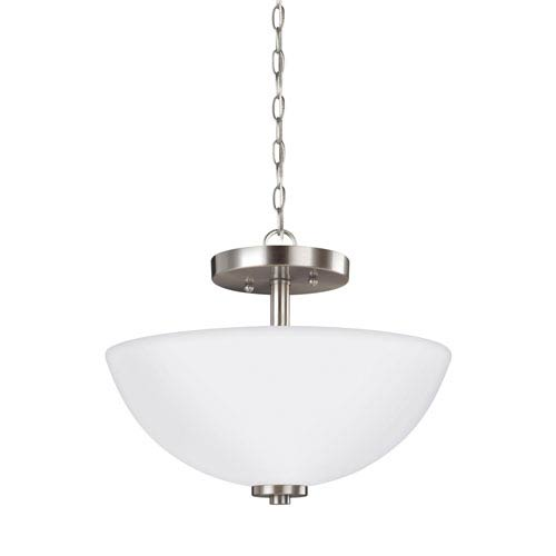 Pax Brushed Nickel 13.5-Inch Two-Light Semi-Flush Mount Convertible Pendant