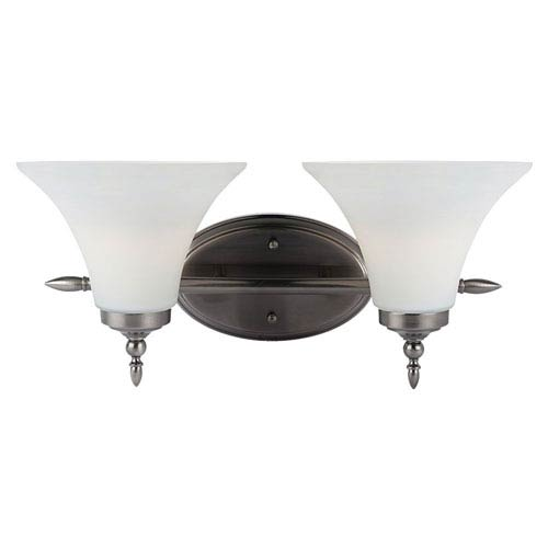 Russell Antique Brushed Nickel Two-Light Vanity Fixture