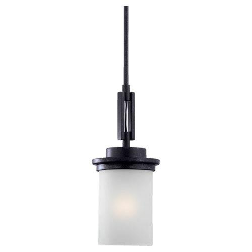 York One-Light Blacksmith Mini Pendant with Satin EtchedGlass