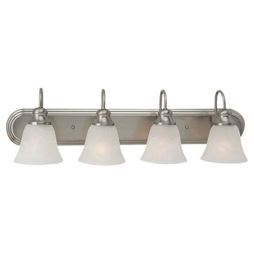 Webster Four-Light Brushed Nickel Energy Star Bath Light with Alabaster Glass