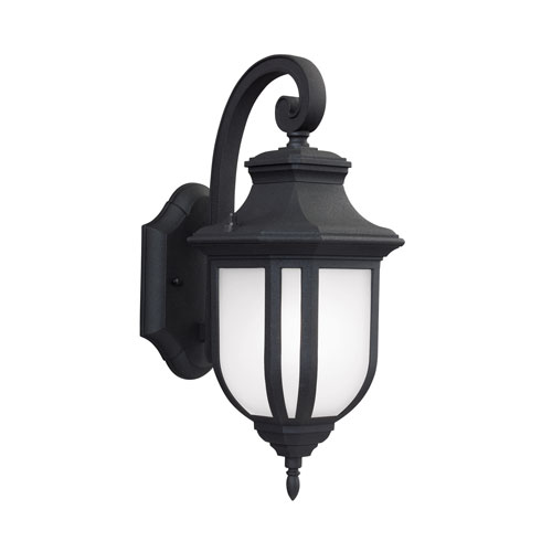 James Black Energy Star 14-Inch LED Outdoor Wall Lantern with Satin Etched Glass