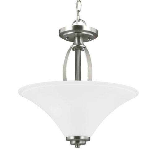 Charles Brushed Nickel Two-Light Semi-Flush Convertible Pendant with Satin Etched Glass