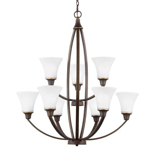 Charles Autumn Bronze Nine-Light Chandelier with Satin Etched Glass
