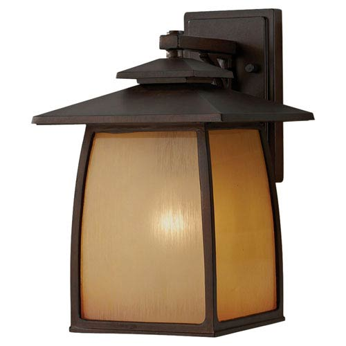 York Brown Outdoor Wall Light Fixture Width 9 Inches