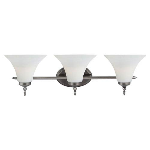 Russell Antique Brushed Nickel Three-Light Vanity Fixture