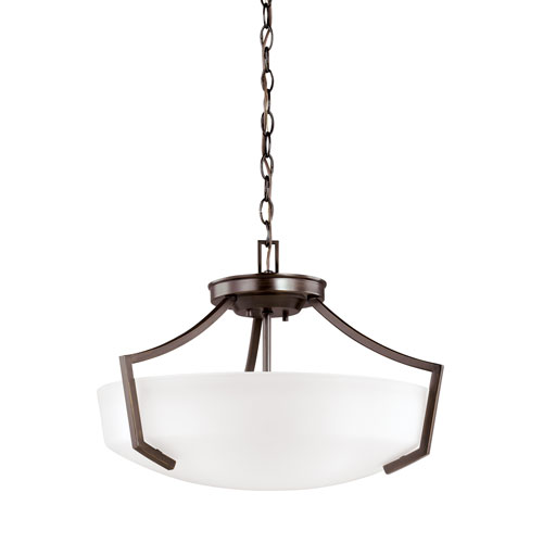 Linden Burnt Sienna Energy Star Three-Light LED Convertible Pendant