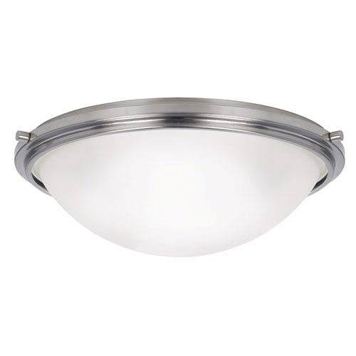 York Brushed Nickel Three Light Large Flush Mount with Satin Etched Glass