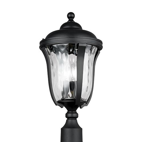 Charlotte Black Three-Light Energy Star Outdoor Post Lantern