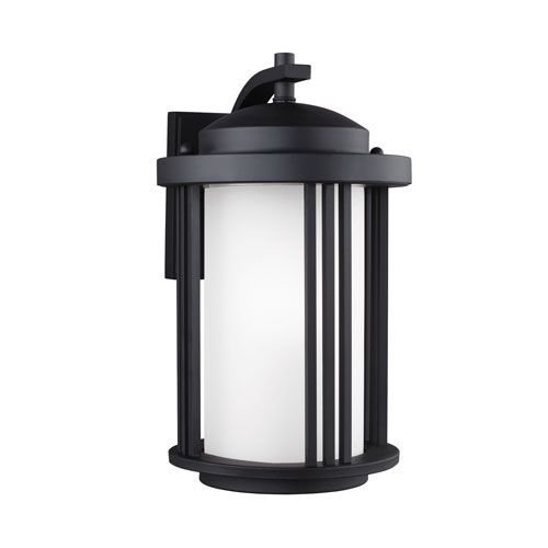Uptown Black Energy Star 15-Inch LED Outdoor Wall Lantern with Satin Etched Glass