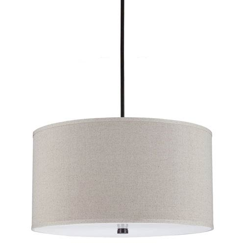 Lyndale Burnt Sienna 13-Inch Four Light Pendant with Linen Shade