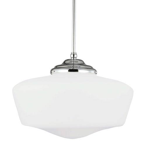Russell Chrome Extra Large One-Light Pendant with Satin White Schoolhouse Glass