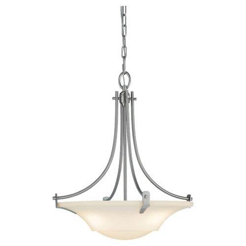 Evelyn Brushed Steel Three-Light Uplight Pendant