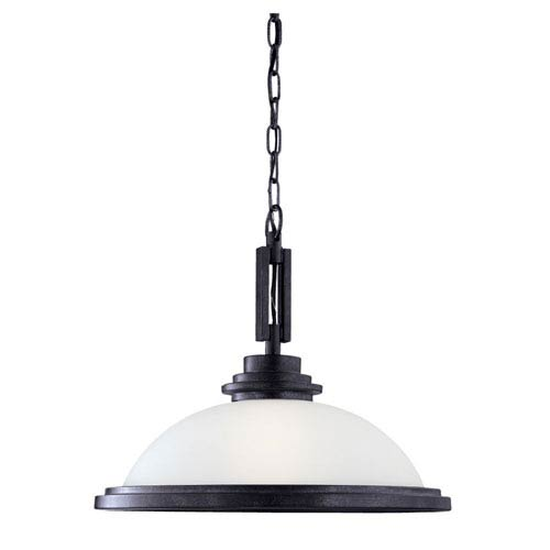 York One-Light Blacksmith Pendant with Satin Etched Glass