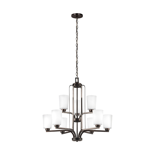 Anita Burnt Sienna Energy Star 30-Inch Nine-Light Chandelier
