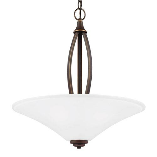 Charles Autumn Bronze Three-Light Up Pendant with Satin Etched Glass