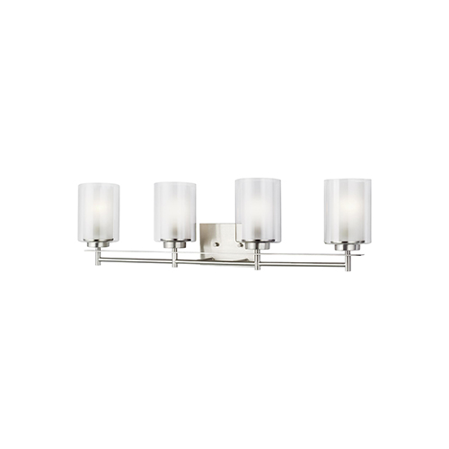 Uptown Brushed Nickel Four-Light Energy Star Wall Sconce