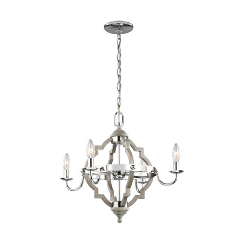 Olivia Washed Pine Four-Light Chandelier Energy Star/Title 24
