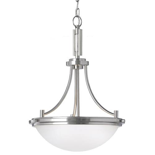 York Brushed Nickel Three Light Pendant with Satin Etched Glass