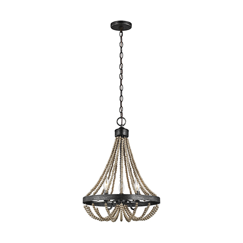 Sophia Washed Pine Three-Light Chandelier