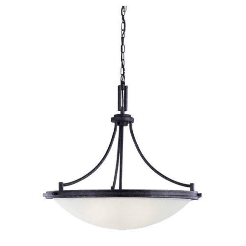 York Four-Light Blacksmith Pendant with Satin EtchedGlass