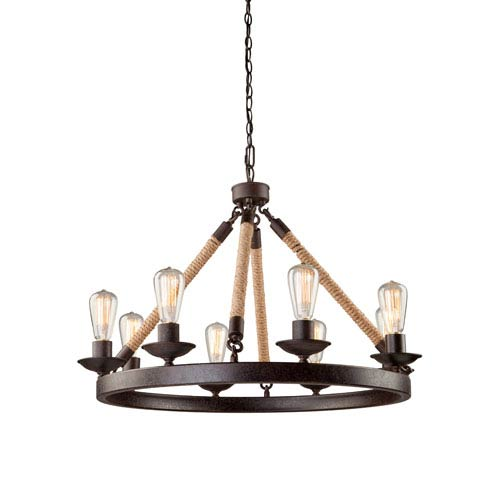 Lex Bronze 31-Inch Eight-Light Chandelier