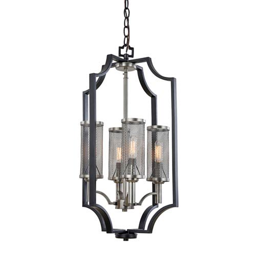 Leighton Matte Black 14-Inch Four-Light Chandelier