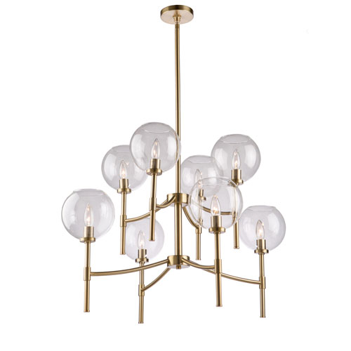 York Satin Brass Eight-Light Chandelier