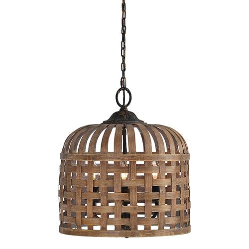 Hana Natural Rattan and Rustic Black Three-Light Pendant