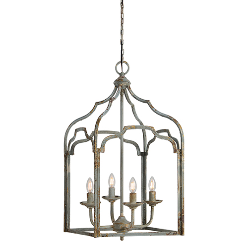 Iris Rustic Blue Four-Light Chandelier