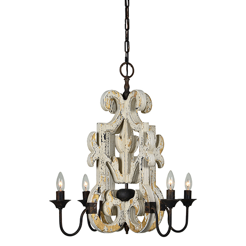 Charlotte Antique White with Gold and Rustic Black Four-Light Chandelier