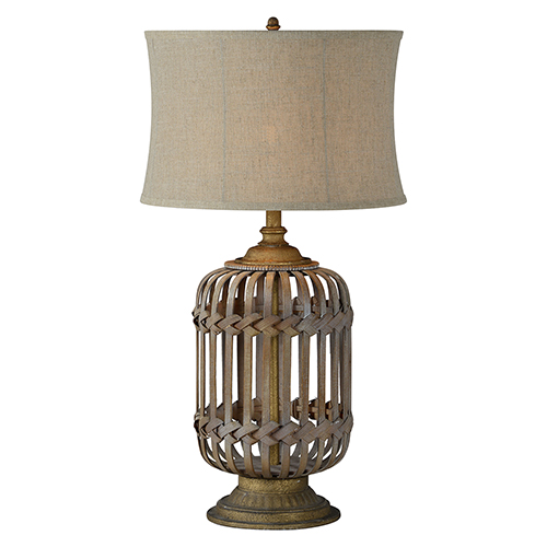 Hana Natural Rattan and Gray Washed Gold Accents One-Light Table Lamp