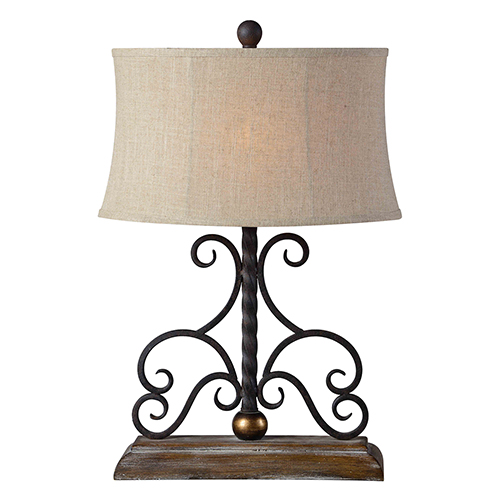 Russell Weathered Wood and Washed Metal 27-Inch One-Light Table Lamp