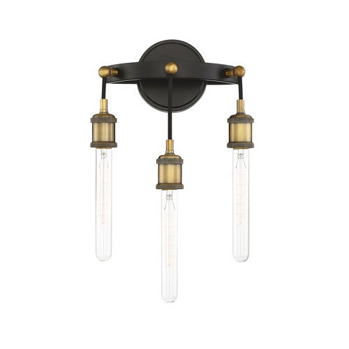 Jackson Vintage Black with Warm Brass 11-Inch Three-Light Wall Sconce