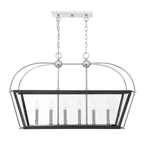 Cora Matte Black with Polished Chrome Accents 16-Inch Six-Light Pendant