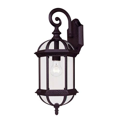 James Textured Black Eight-Inch One-Light Small Outdoor Wall Sconce