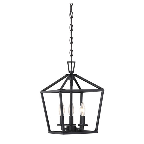 Anna Matte Black 10-Inch Three-Light Pendant