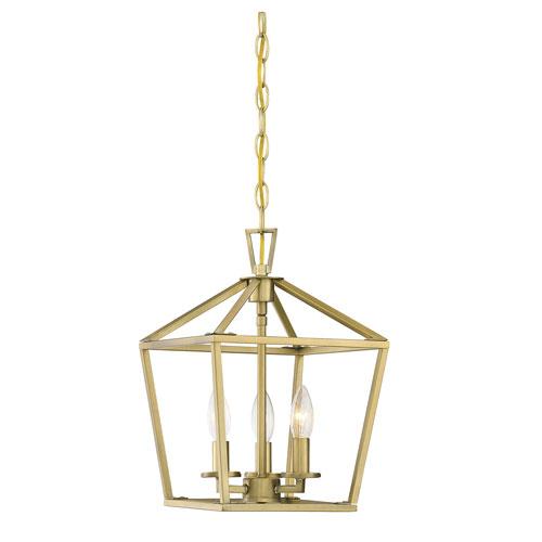 Anna Polished Brass 10-Inch Three-Light Pendant