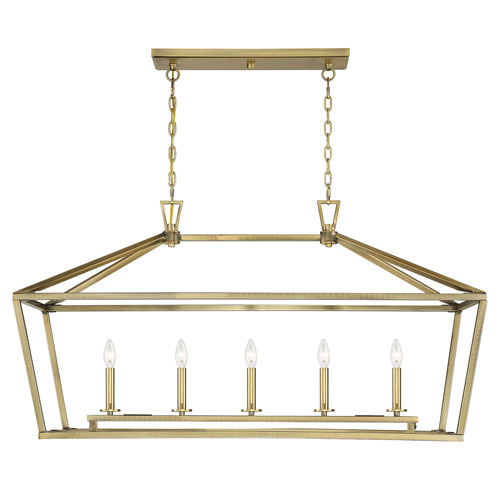 Anna Polished Brass 16-Inch Five-Light Pendant