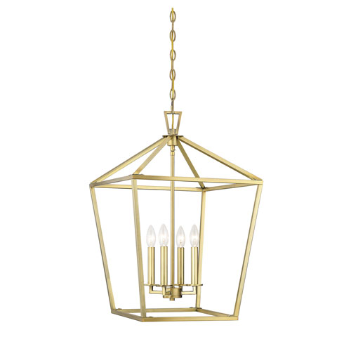 Anna Polished Brass 17-Inch Four-Light Pendant