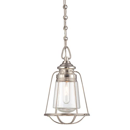 River Station Brushed Nickel and Pewter Eight-Inch One-Light Mini Pendant