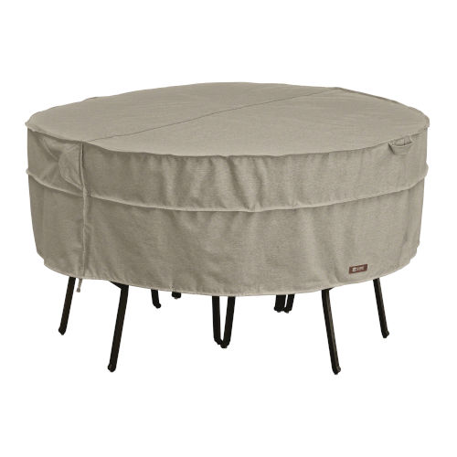 Maple Heather Gray Round Patio Table and Chair Set Cover with Water Resistant Fabric