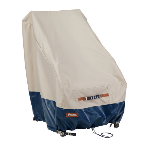 Aspen Fog and Navy Patio High Back Chair Cover