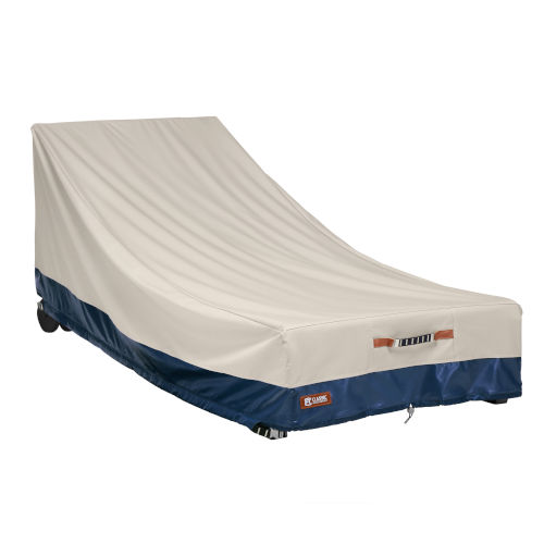 Aspen Fog and Navy Patio Day Chaise Cover