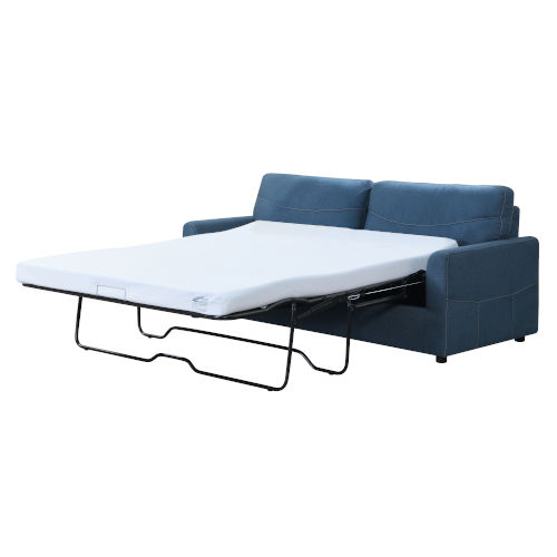 Linden Blue 79-Inch Queen Sleeper Sofa with Pillows, Faux Leather Upholstery And Gel Foam Mattress